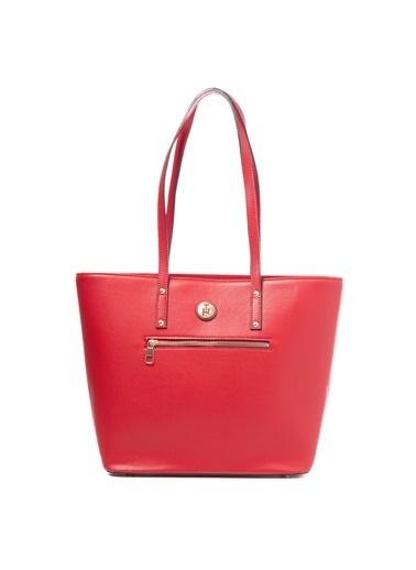TH Bags TH Bags Fermuarlı Suni Deri Kadın Omuz Çantası Kırmızı